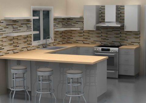 dapur dengan minibar abu abu