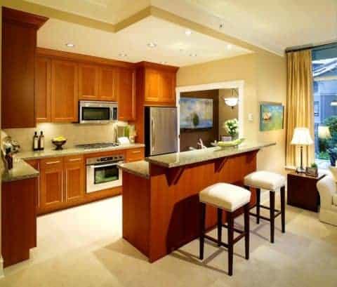 desain dapur mungil dengan minibar santai