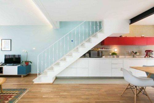 kitchen set bawah tangga modern