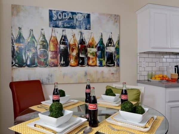 meja dapur bundar tatakan material bambu