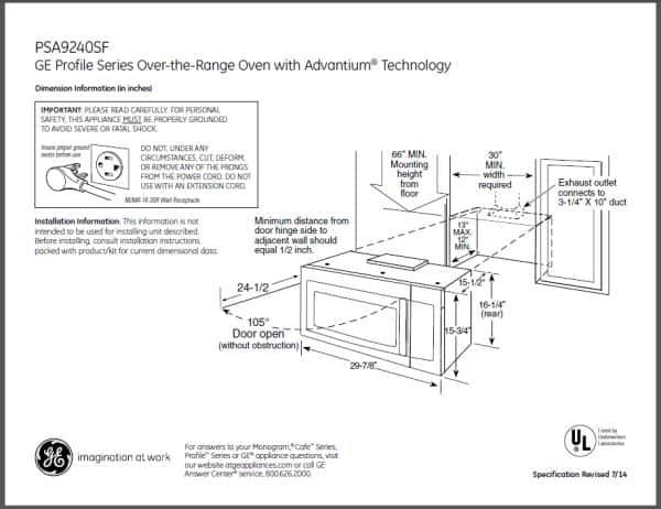 petunjuk instalasi microwave GE