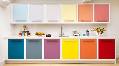 rak dapur berkonsep warna warni